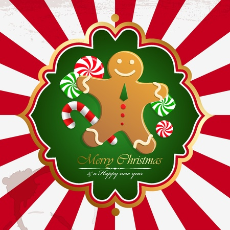 Christmas vintage background with cookies. Vector