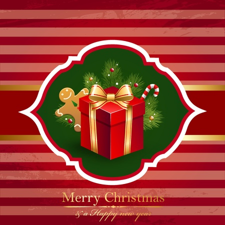 Christmas vintage background with gift. Vector