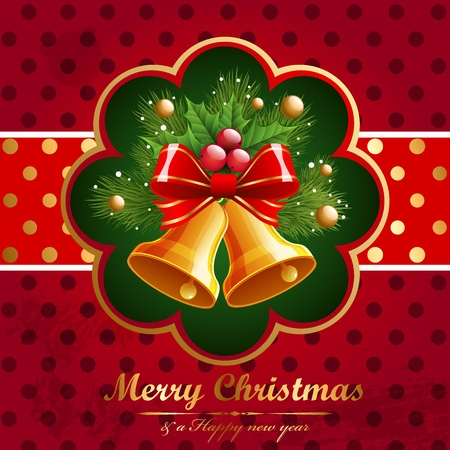Christmas vintage background with bell and firtree. Vector