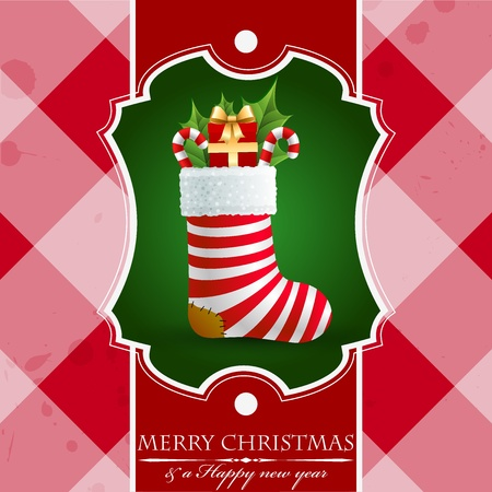 Christmas vintage background with gifts in sock. Иллюстрация