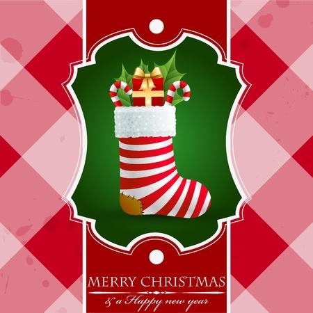 Kerst vintage achtergrond met geschenken in de sok.