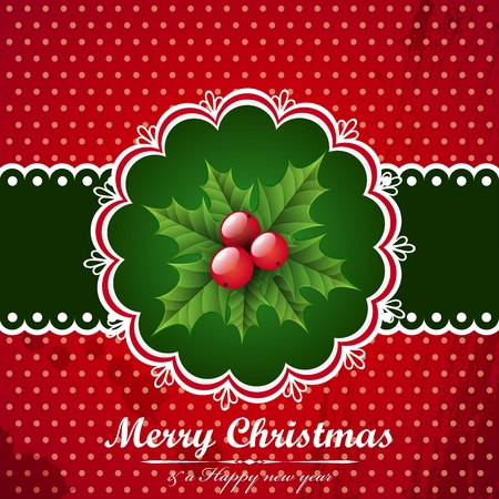 Christmas vintage background with holly berry. Vector