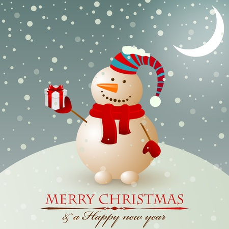 xmas decoration: Christmas vintage snowman with gift. Illustration