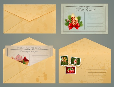 Christmas vintage postcards and envelopes with stamps. Vector