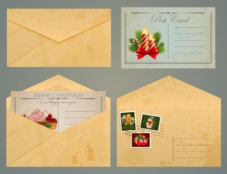 old envelope: Christmas vintage postcards and envelopes with stamps. Illustration