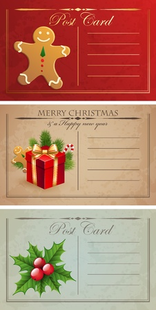 Vintage christmas postcards. Vector