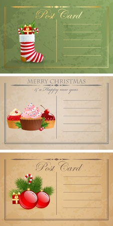 Vintage christmas postcards. Stock Vector - 11656451
