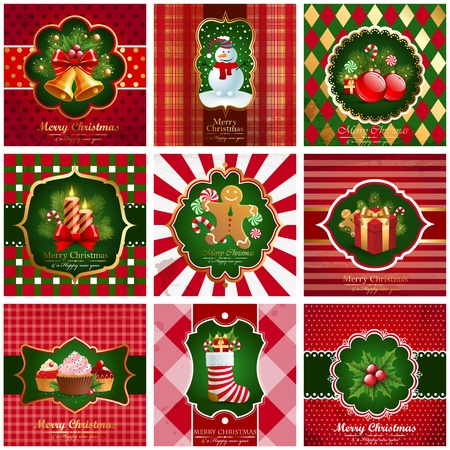 set of christmas vintage backgrounds. Vector