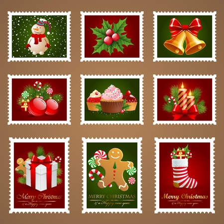 Christmas postage set. Vector