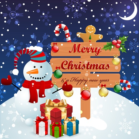 Christmas vintage background with snowman, wood banner and other elements. Stock Vector - 11656408