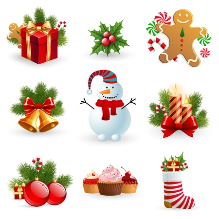 Christmas object element - fir tree snowman gingerbread gift candle sock bell ball holy berry. Vector