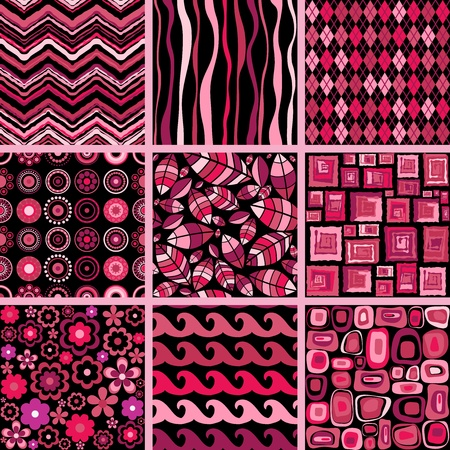 Set of stylish seamless patterns illustration.