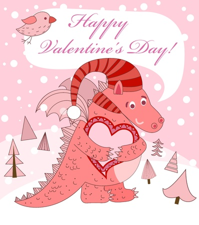 Valentines day. Pink dragon with heart illustration. Vector