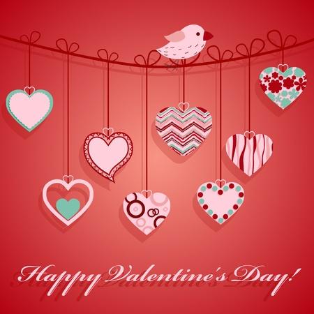 Valentine's day hanging heart illustration. Stock Vector - 12349039