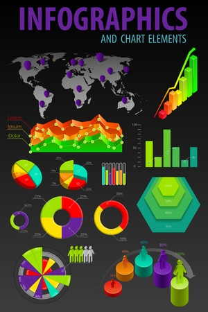Set elements of infographics. World Map and Information Graphics illustration.