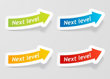 click here icon: Next level message on arrow stickers set illustration.