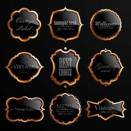 luxurious: Set of black gold labels illustration.