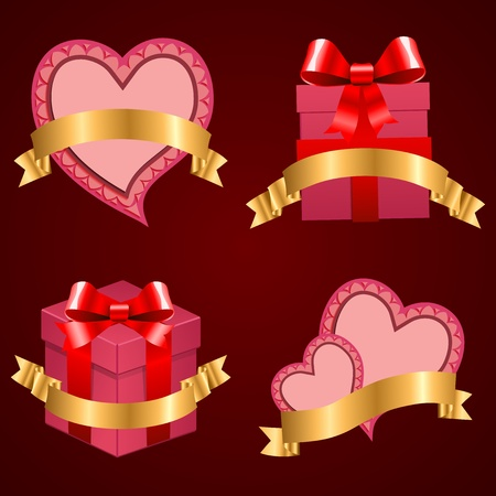 Valentine's day set background hearts and present with ribbon. Stock Vector - 12349023