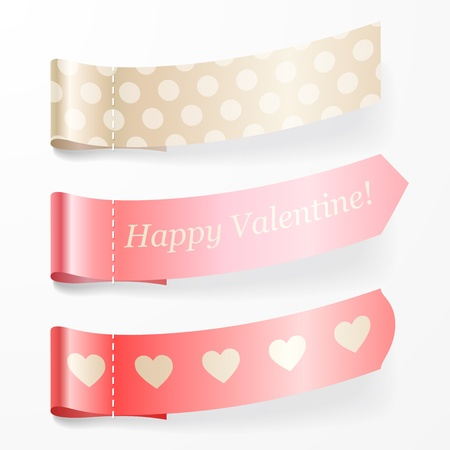 Beautiful set of valentine pink ribbons illustration. Vector