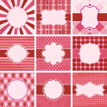 Set of valentines day vintage backgrounds. Vector
