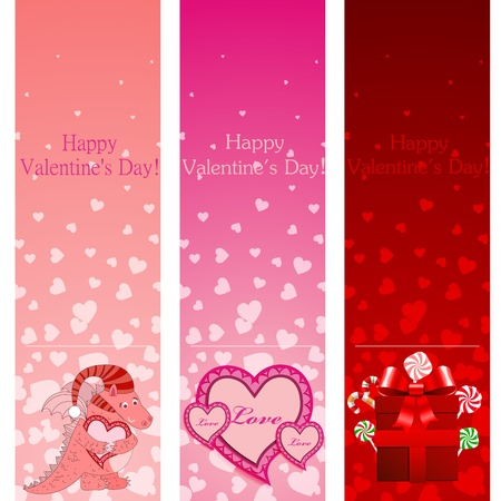 Valentine's day pink vertical banners illustration. Stock Vector - 12349046