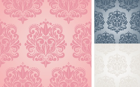 Beautiful seamless damask pattern illustration. Vector
