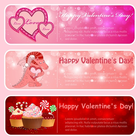 Valentine horizontal banners. Pink, red illustration. Stock Vector - 12349044