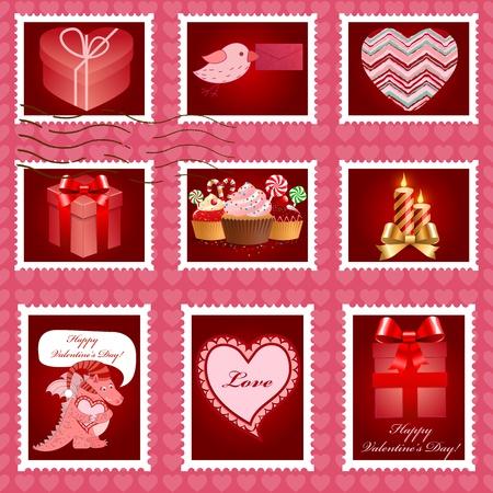 Valentine's day pink postage set illustration. Stock Vector - 12349061