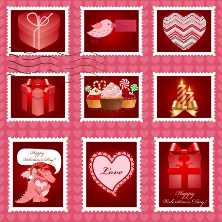 Valentine's day pink postage set illustration. Stock Vector - 12349061