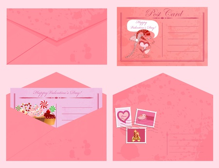 Valentines day vintage postcards and envelopes with stamps. Vector