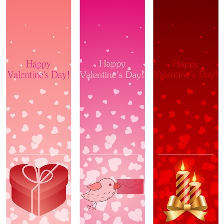 Valentines day pink vertical banners illustration. Vector