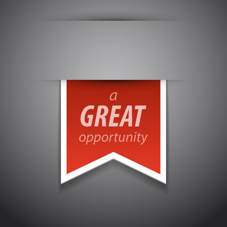 opportunity sign:  great opportunity tag on grey background