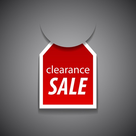 clearance sale tag on grey background  Illustration