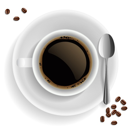 Cup of black coffee with coffee grain and spoon  On white background