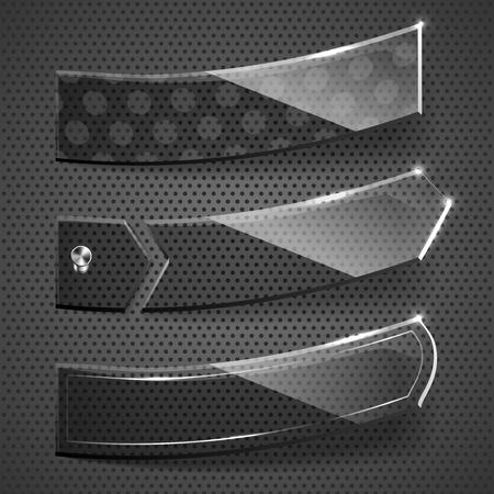 Glass stickers on grey background  illustration  Illustration