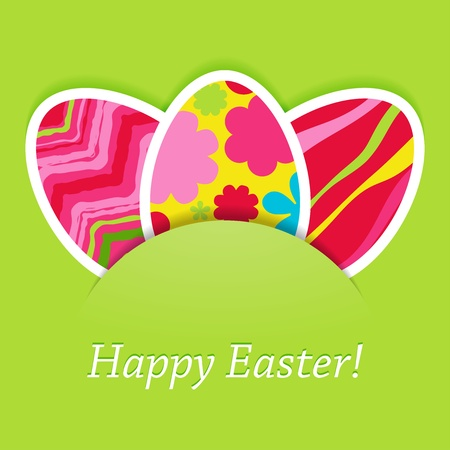 happy easter green card with eggs  Vector