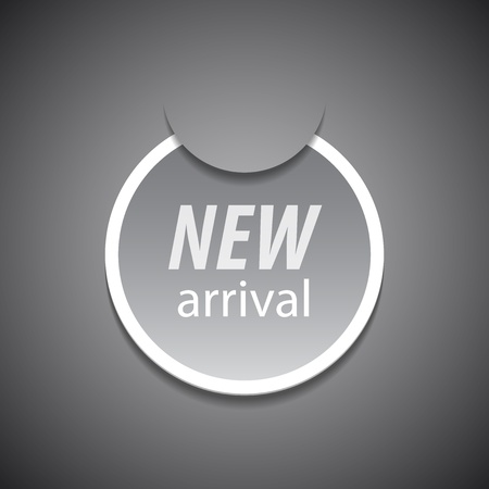 new arrival tag on grey background. Vector