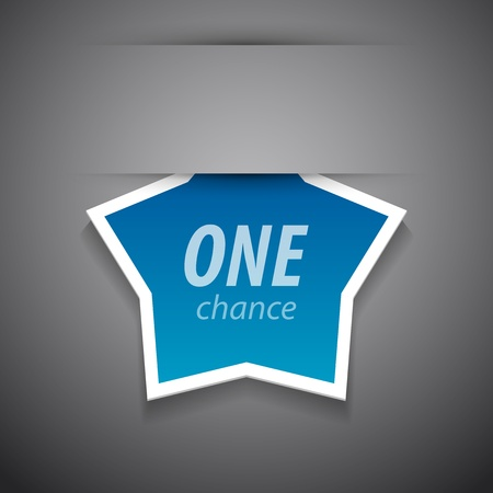 one chance tag on grey background. Illustration
