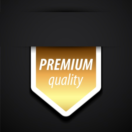 premium quality tag on black background. Vector