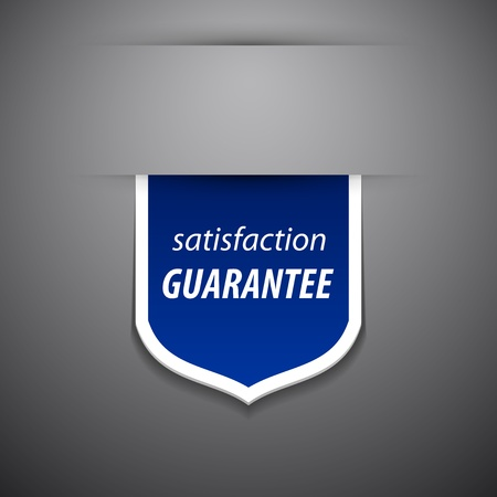 satisfaction guarantee tag on grey background.