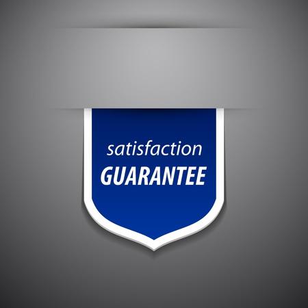 zufriedenheitsgarantie: Zufriedenheits-Garantie-Tag auf grauem Hintergrund.