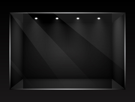 Dark empty show window of shop illustration. Vector