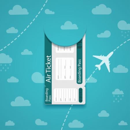 Biglietto aereo sul cielo di sfondo illustrazione Vettoriali