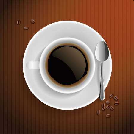 Cup of black coffee with coffee grain and spoon  On brown background illustration  Vector