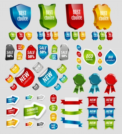 Design elements  tags, stickers, ribbons and other illustration Stock Vector - 13953410
