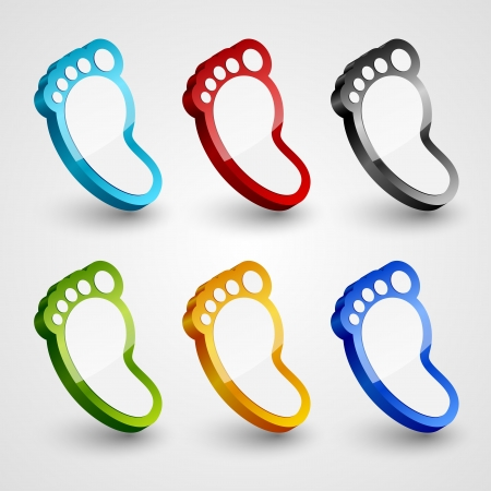 3d footprint collection illustration  Vector