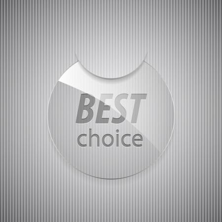 Glass best choice round sticker illustration  Vector