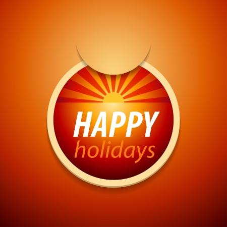 heat wave: attach happy holidays sticker  Illustration