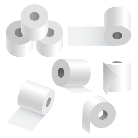 roll paper: Toilet paper set on white background illustration