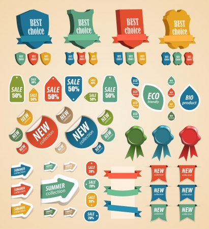 Design vintage elements  tags, stickers, ribbons and other  illustration